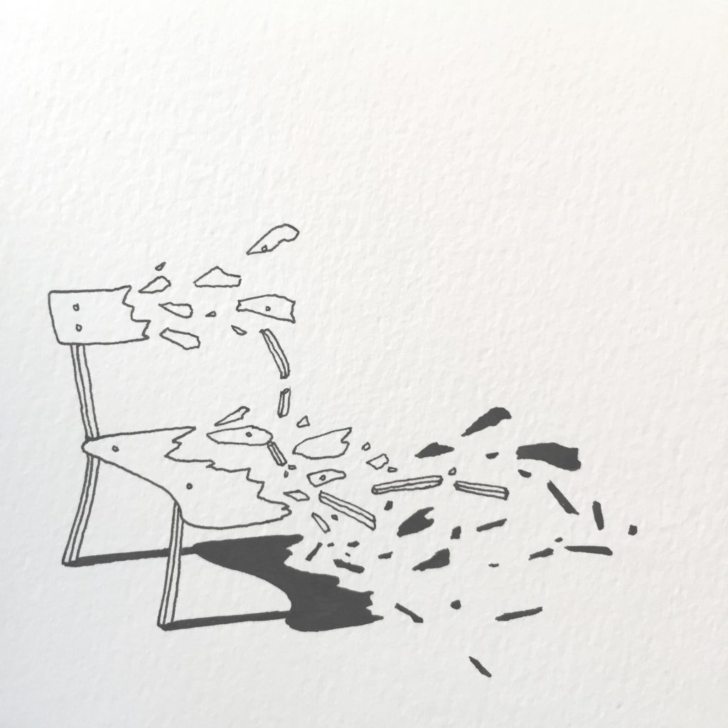 Exploding chair, doodle by Sebastian Galo