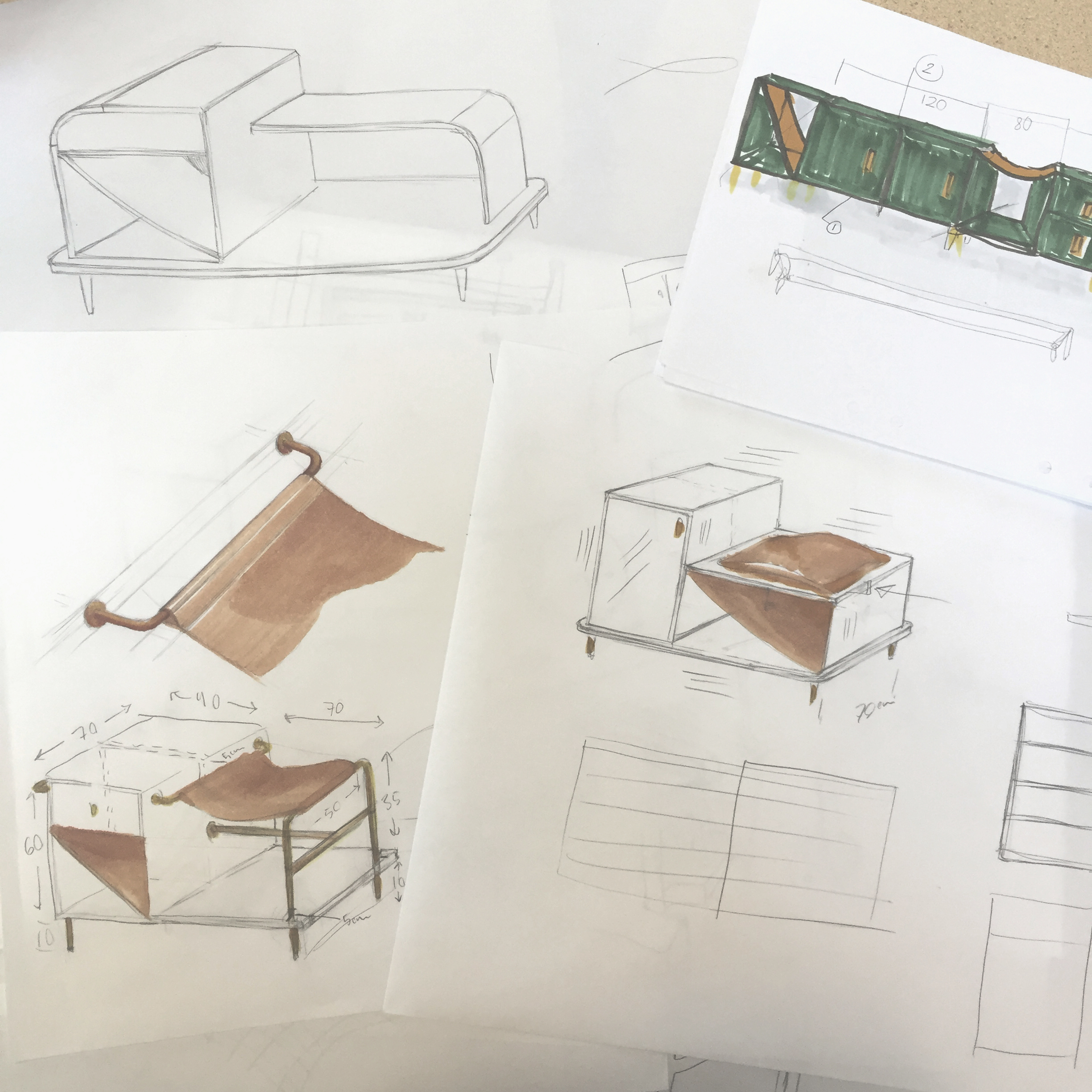 Combination furniture sketches, by Sebastian Galo