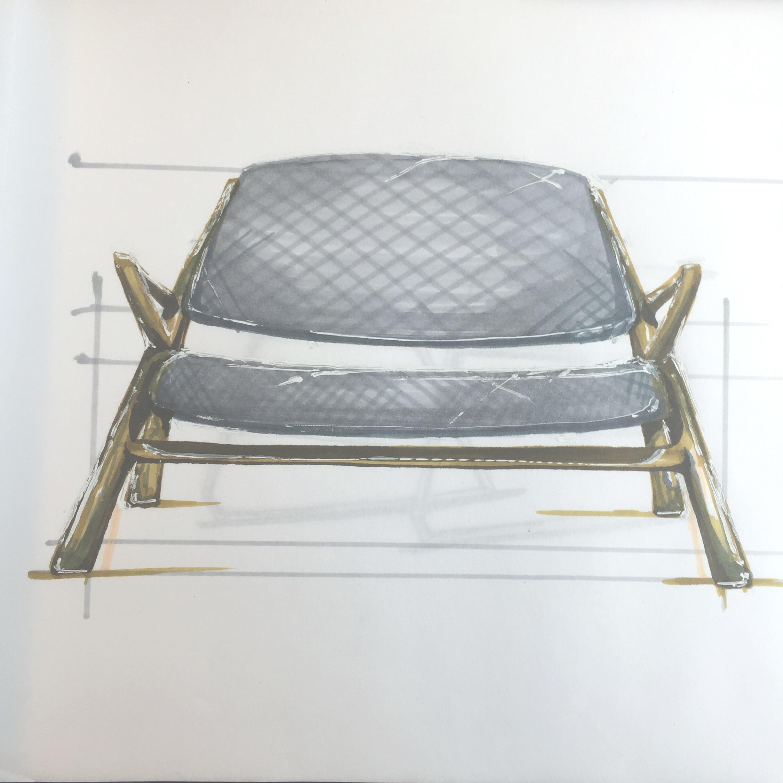 Armchair marker render, walnut and wool, by Sebastian Galo