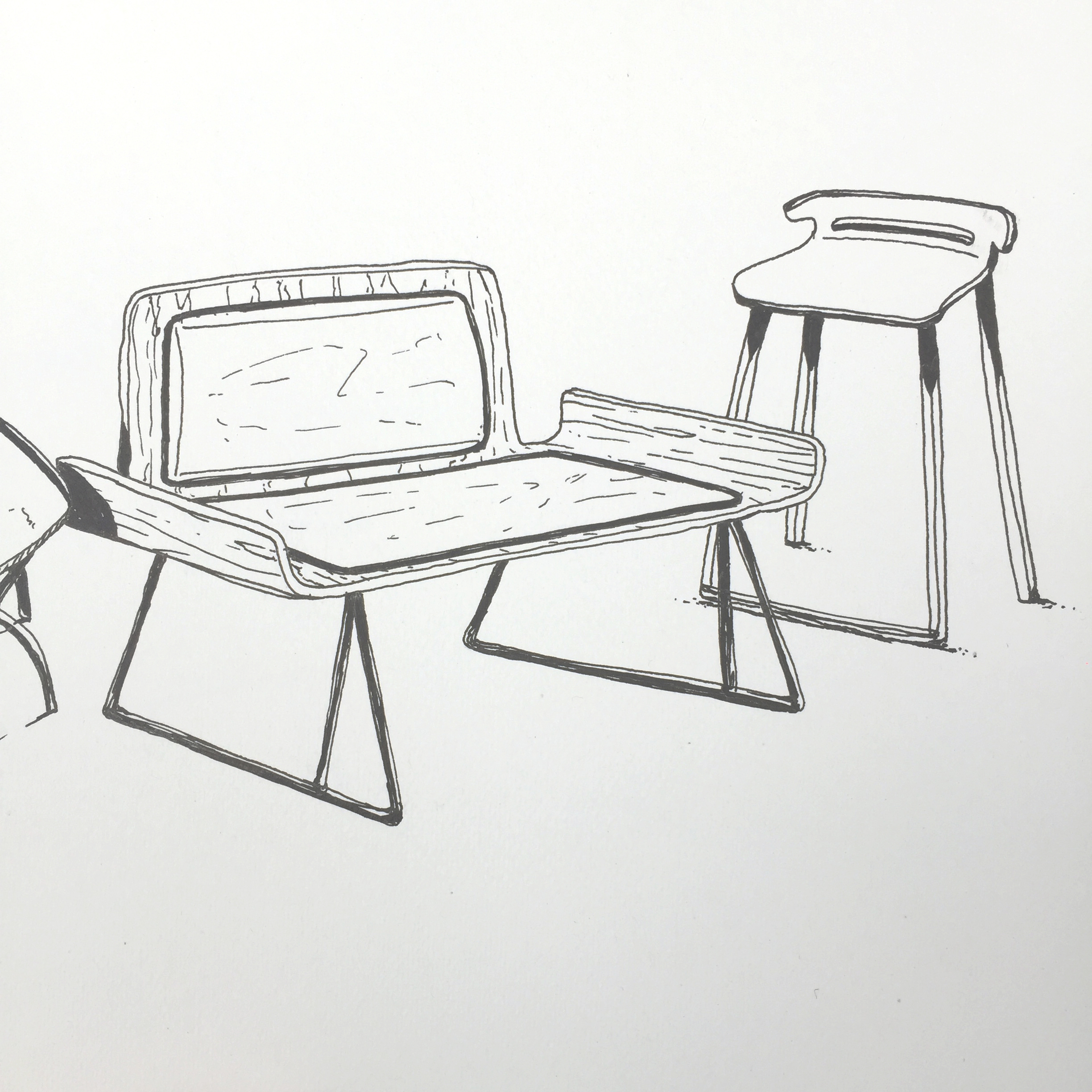 Chairs and stools doodle by Sebastian Galo