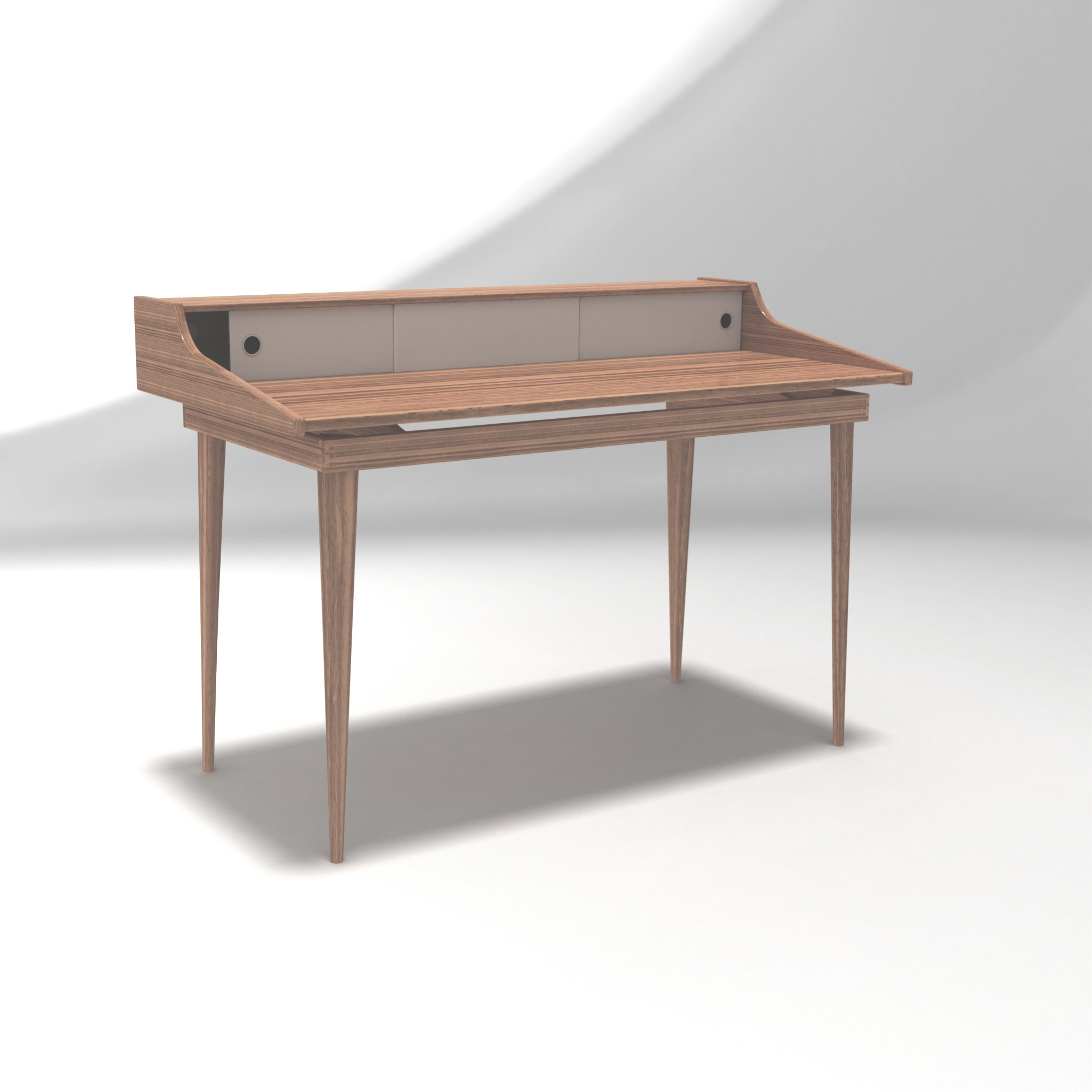 Studio desk with cabinet, made in Solidworks, by Sebastian Galo