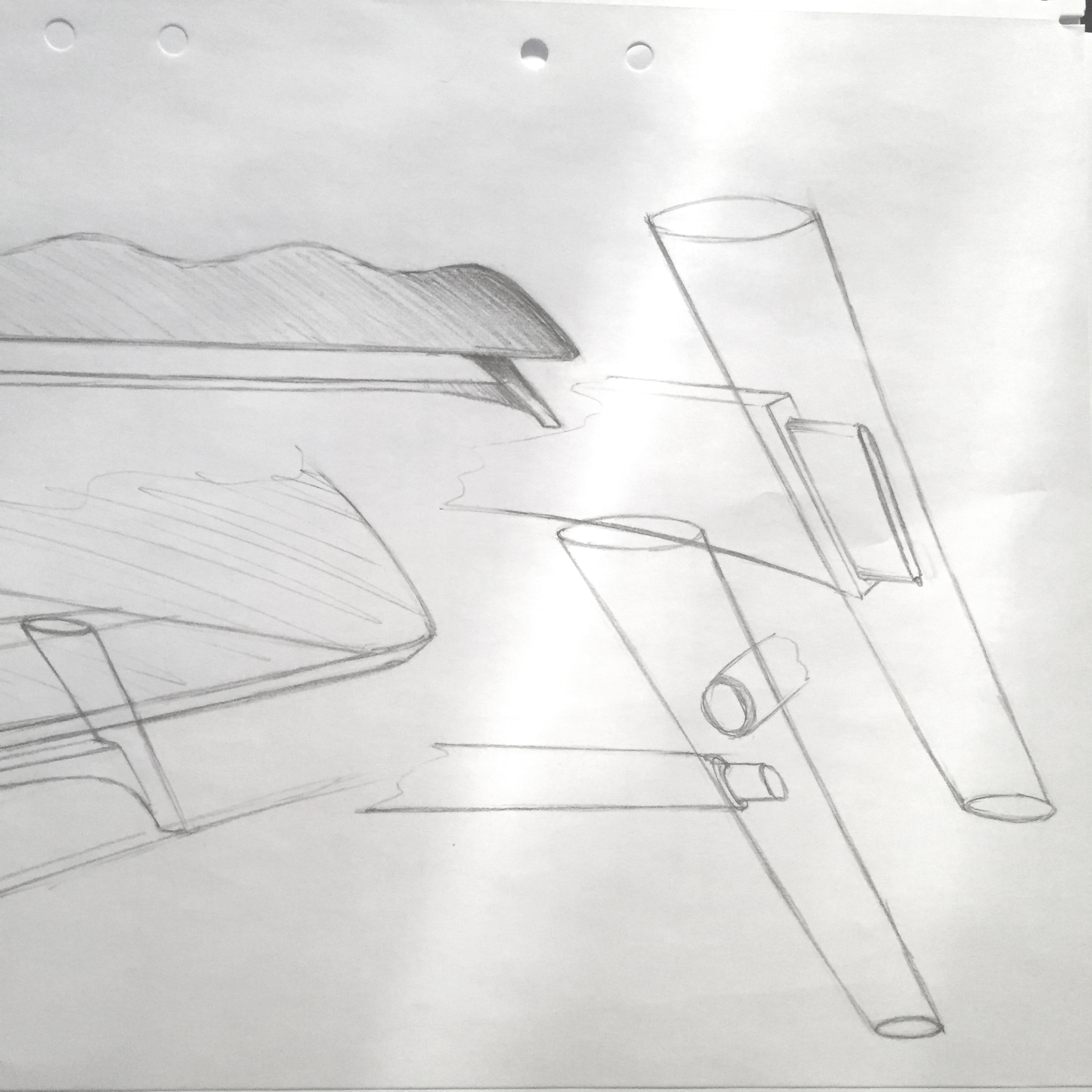 Technical drawing of a sofa by Sebstian Galo