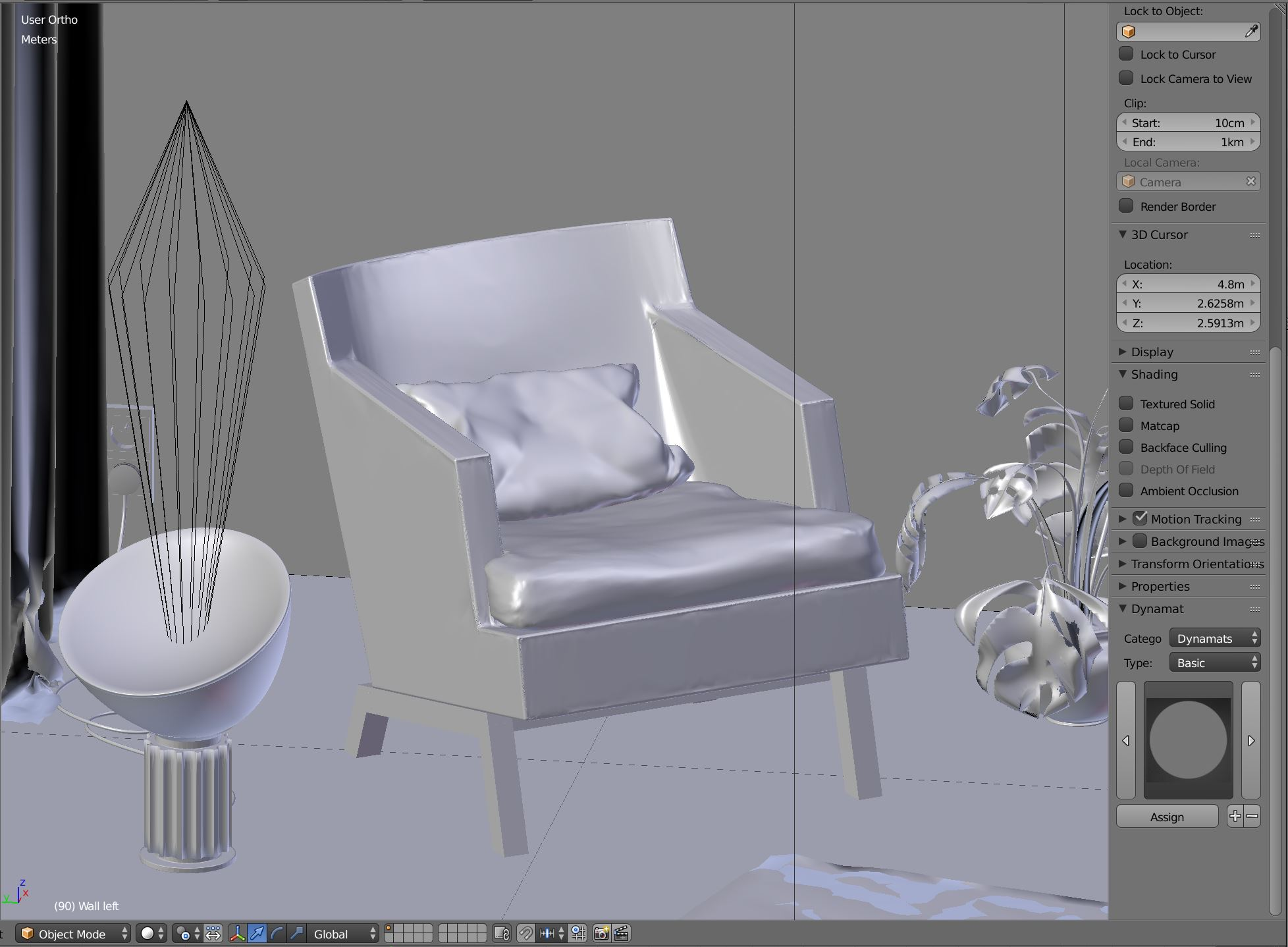 Cushion modeling in solid view in Blender