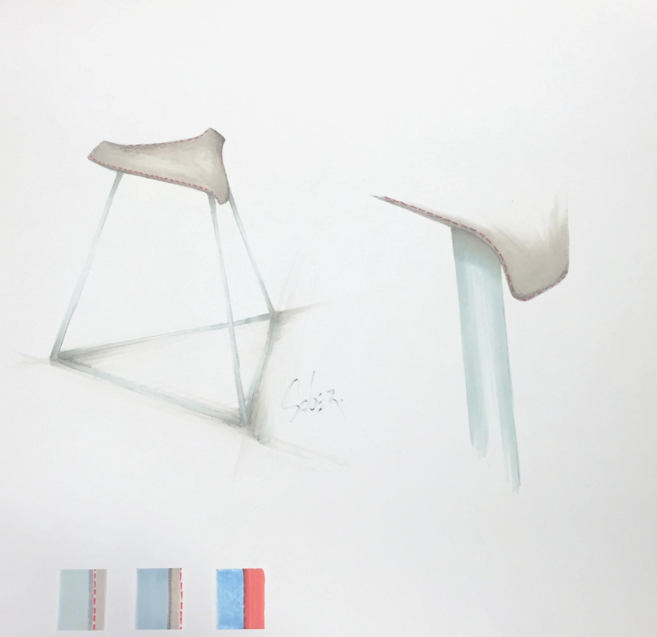 High stool, marker render by Sebastian Galo