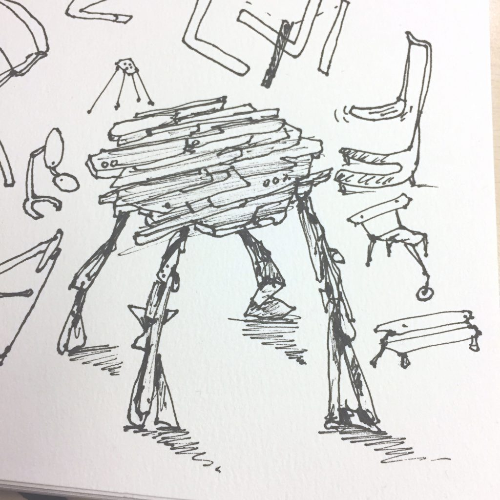 Stools and chairs doodle by Sebastian Galo