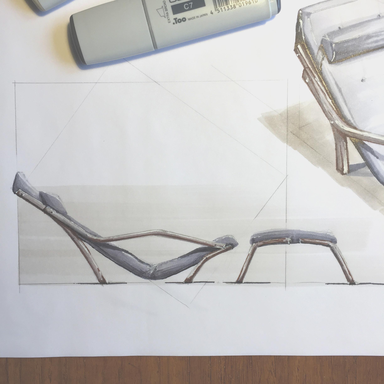 Marker render relaxing armchair, by Sebastian Galo