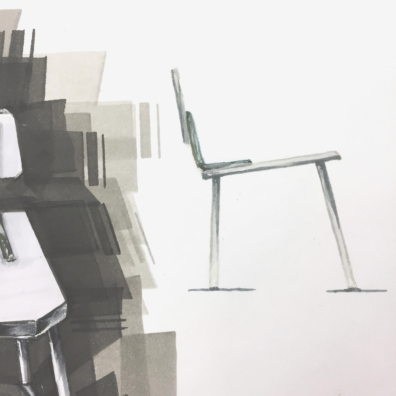 Marker render chair, by Sebastian Galo