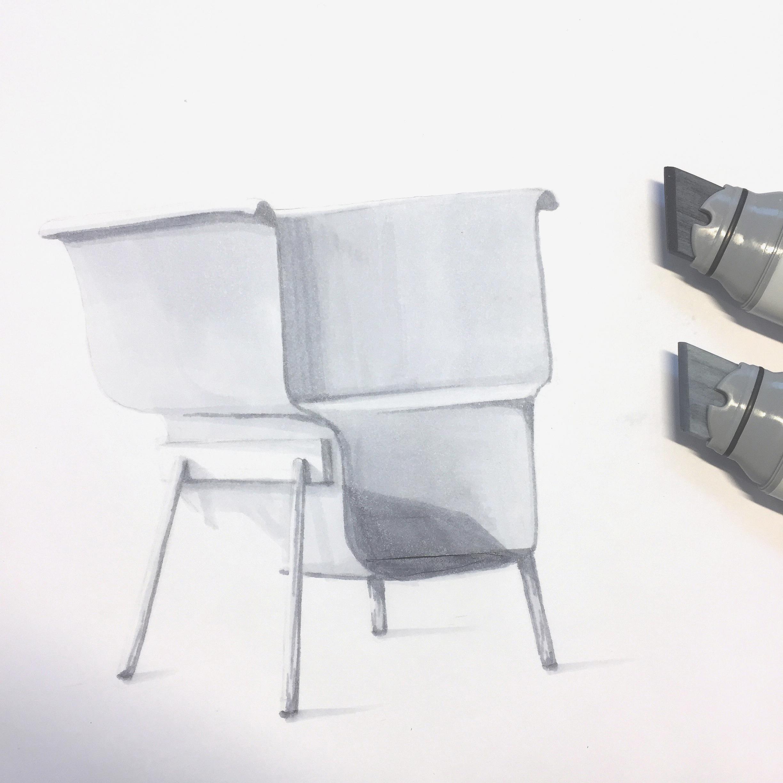 Marker render of armchair, inspired by Blå Station, by Sebastian Galo