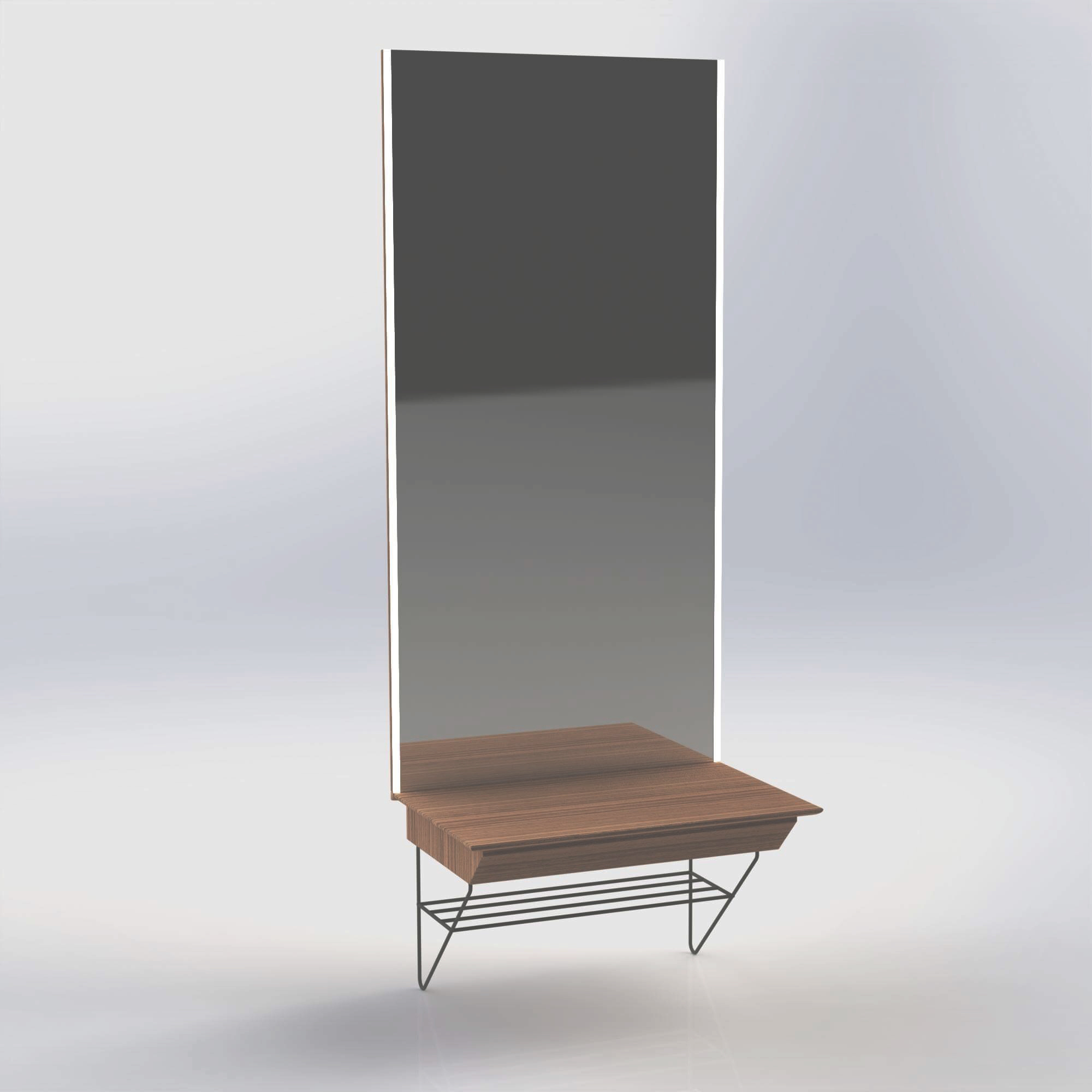 Cabinet with mirror and led stripes made in Solidworks, by Sebastian Galo