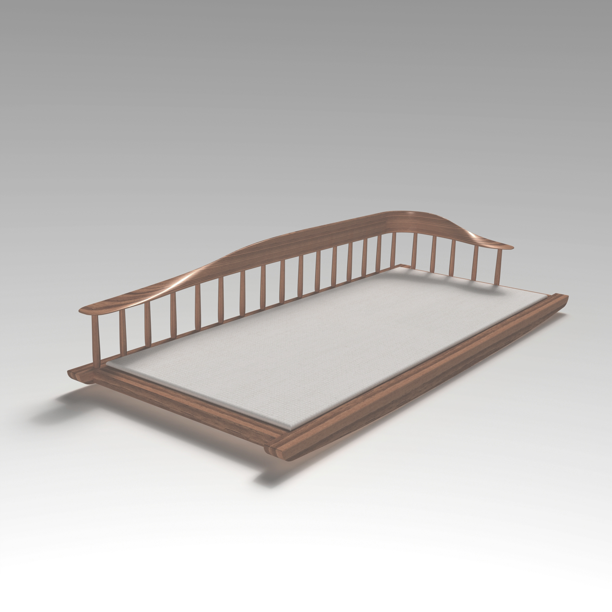 Day bed inspired by Japan and Småland, made in Solidworks, by Sebastian Galo