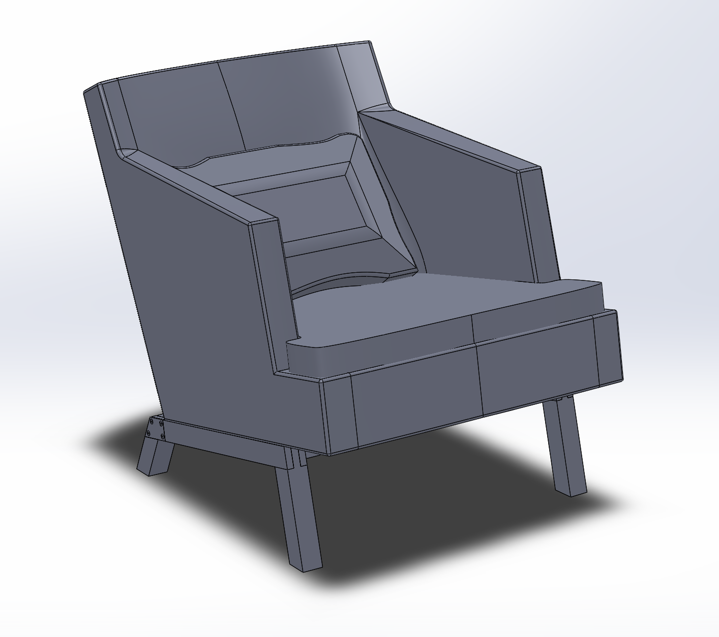 CAD model of an armchair made in Solidworks.